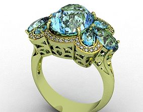 3D print model Diamond and Topaz Ring