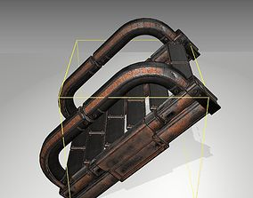 Futuristic Stairs - 10 - Rusty Textures 3D asset