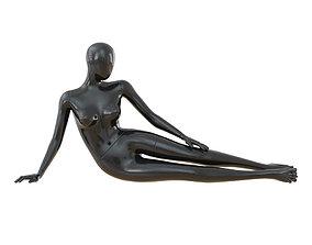 Black female mannequin in a lying pose 49 3D model