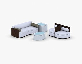 3D model 1155 - Sofa Chair and Table Set