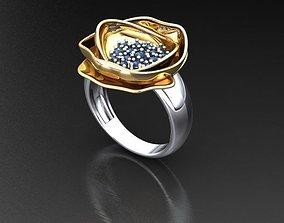 Ring leaf with gems 3D printable model