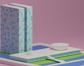 3D model The National Congress of Brazil - Brasilia