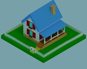3D asset Isometric rendering house