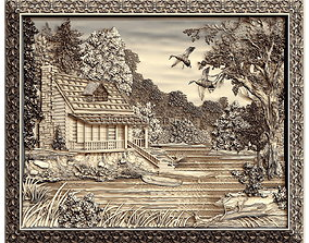 3D model HOUSE in the forest by the river