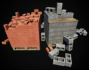 Low Poly PBR Pallets with Bricks and Blocks 3D asset