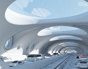 Futuristic Tunnel With Cars 325 3D