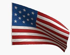 3D asset US Flag 13 Stars 1777-1795