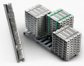 3D model Aluminium Zinc Nickel Silver Titan Steel ingot 2