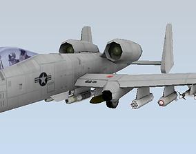 realtime A-10 Thunderbolt Fairchild Republic Low-poly 3D