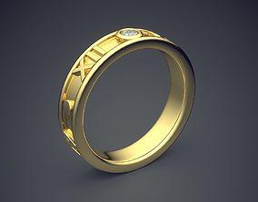Golden Diamond Ring With Roman Date 3D printable model