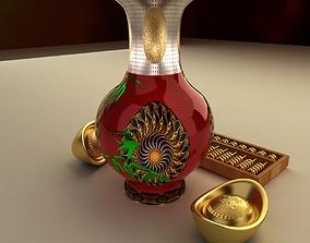 3D model ceramic Chinese gold ingot