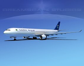 Airbus A330-300 Saudi Airlines 3D model