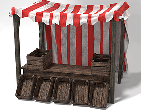 Medieval Market Stall Tent Red and White VR / AR ready 3