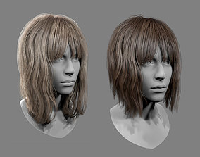 3D asset Realtime Medium Length Hairstyle