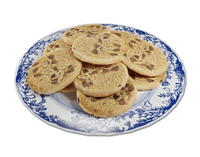 Plate of Chocolate Chip Cookies 3D model