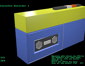 low-poly Low poly Cassette Recorder 1