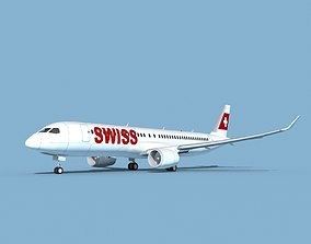 3D model Airbus A220-300 Swissair