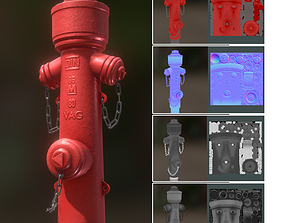 3D model Red Fire Hydrant VAG Version 2 Low Poly Red 1