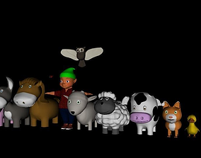toon animals and gnome 3D asset