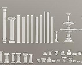 Columns Pedestals Decorative Gaudi Elements 3D