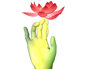 3D model Bergamot Lotus Zen ink flower art