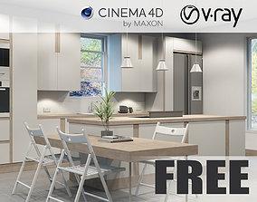 VRay - C4D Scene files - FREE KITCHEN 3D model oven