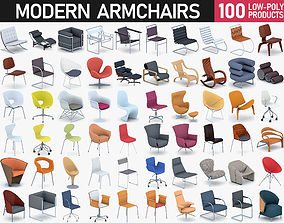 Modern Armchairs Collection 3D asset low-poly