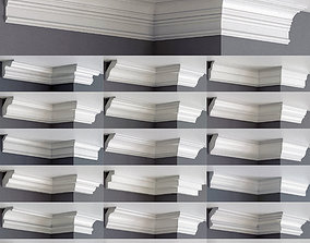 3D model Collection of linear cornice - 45 pieces - Set 01