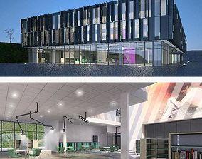 3D model low-poly Cultural center building