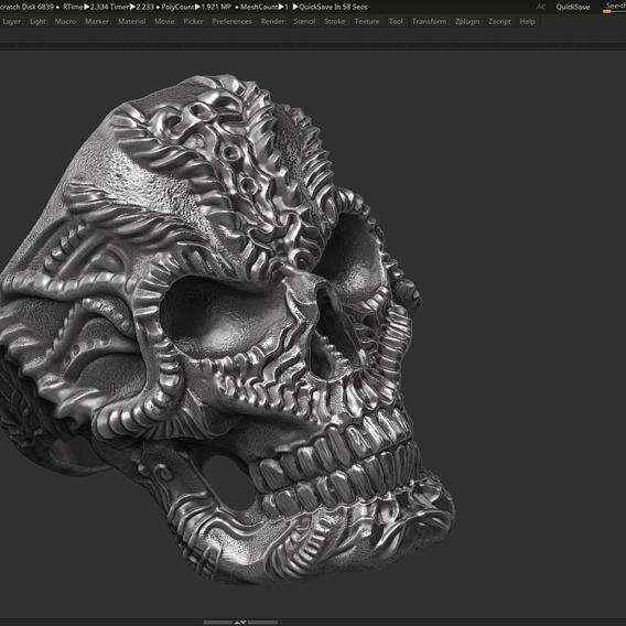 Ring Skull 3d print model