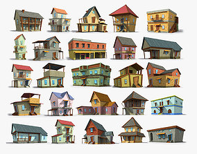 25 Cartoon House Collection Low poly 3D model