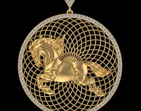 3D printable model Circle Horse pendant