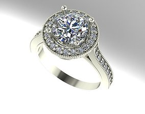 Double halo engagement ring 3D print model