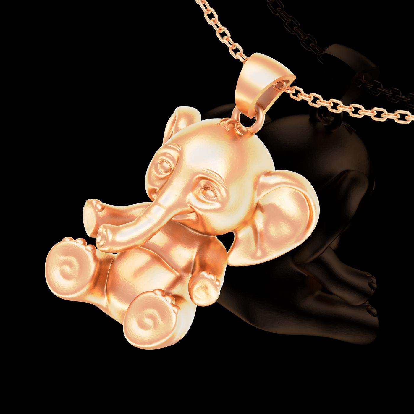Small Elephant Pendant jewelry Gold 3D print model