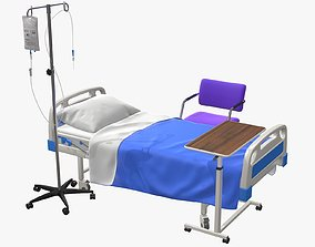Hospital Bed with Equipment 3D model