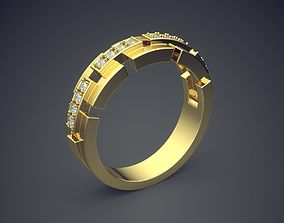 Unique Golden Engagement Ring With Cuts and 3D print model
