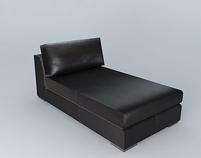 chaise long TERENCE brown leather 3D model