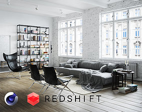 3D Living Room Interior Scene for Cinema 4D and Redshift
