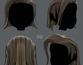 low-poly 3D Hair style for girl V42