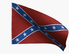 3D asset US Flag Confederate Navy Jack