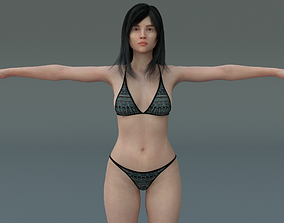 Low poly Female Character 3D model realtime