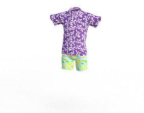 3D asset Realistic Hawaiian Clothes