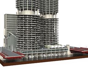 Marina city Goldberg Chicago lowpoly 3D asset