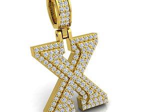 Alphabet Latter X Diamond Pendent 3d Model