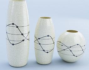 Ceramic White Vase Set 3D model