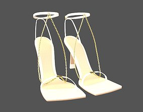3D model game-ready Square Toe Leather Sandals v2 001