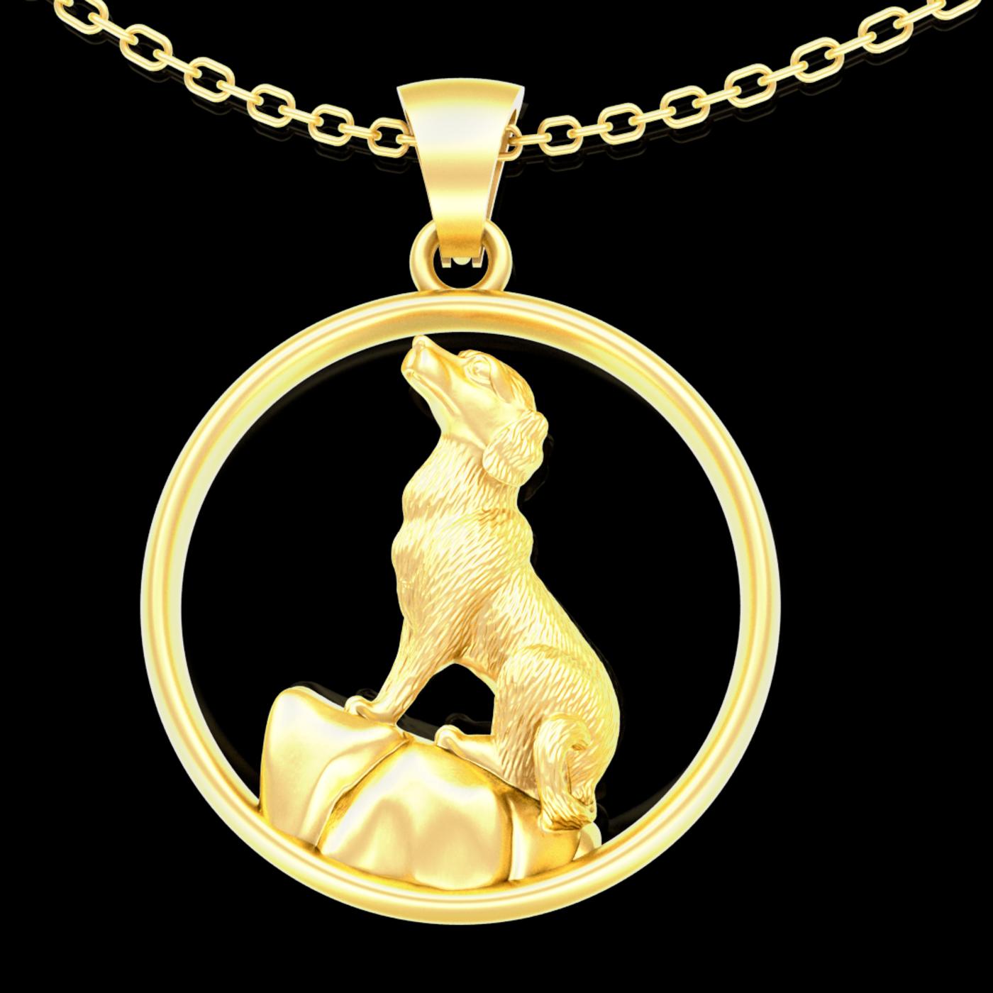 Rock Dog sculpture Pendant jewelry Gold 3D print model