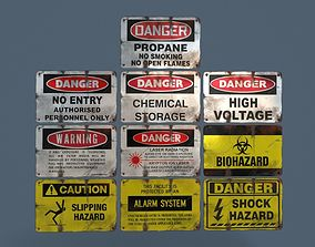 Metal warning signs Common Enviroment Assets 3D model