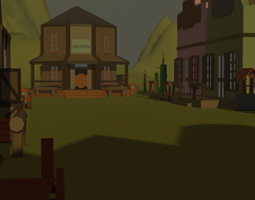 3D asset game-ready Western Low Poly Pack