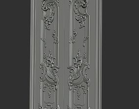 Carved door 3D print model pediment